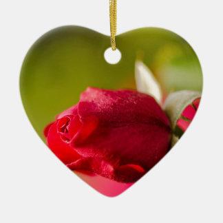 Ornement Cœur En Céramique Conception haute de fin de rose rouge