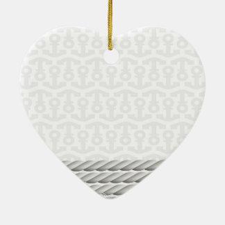 Ornement Cœur En Céramique Conception nautique blanche d'ancre avec la corde