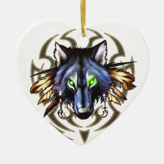Ornement Cœur En Céramique Conception tribale de tatouage de loup