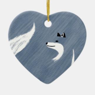 Ornement Cœur En Céramique Conception unique de Fox bleu