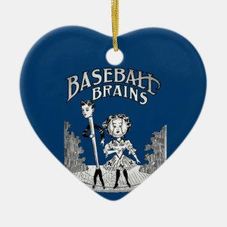 Ornement Cœur En Céramique Conception vintage de base-ball