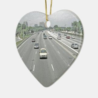 Ornement Cœur En Céramique Conduisez samedi après-midi sur l'autoroute de