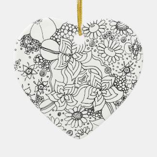Ornement Cœur En Céramique Conglomération des fleurs