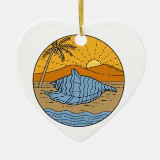 Ornement Cœur En Céramique Conque Shell sur l'arbre de noix de coco de Sun de