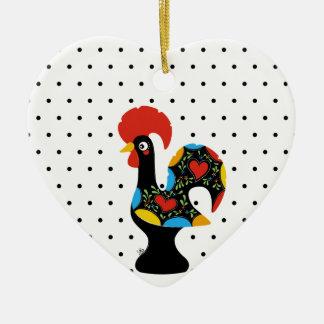 Ornement Cœur En Céramique Coq célèbre de Barcelos Nr 09 - pois