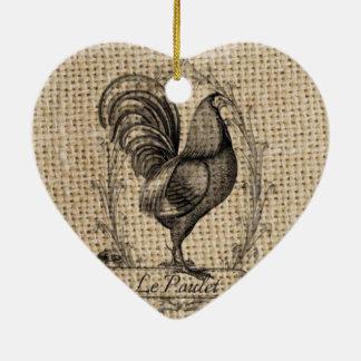Ornement Cœur En Céramique Coq français de pays de poulet vintage moderne de