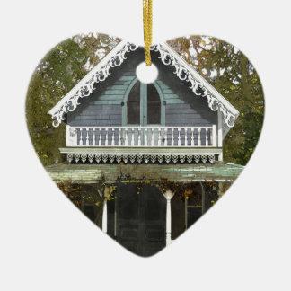 Ornement Cœur En Céramique Cottage sur le Martha's Vineyard