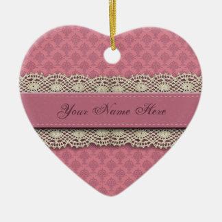 Ornement Cœur En Céramique Couleurs de rose rose de damassé