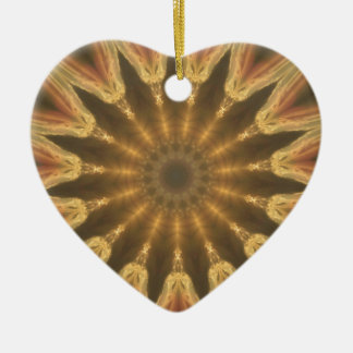Ornement Cœur En Céramique Couronne d'or