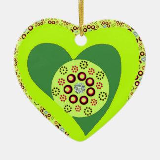 Ornement Cœur En Céramique Coutume d'ornement de coeur d'arbre de Noël