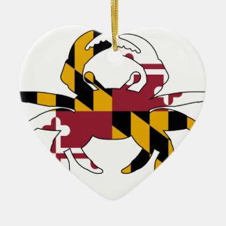 Ornement Cœur En Céramique Crabe de drapeau du Maryland