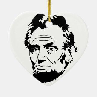 Ornement Cœur En Céramique Croquis d'Abraham Lincoln