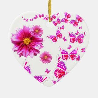 Ornement Cœur En Céramique Dahlia rose fuchsia et motif blanc de papillons