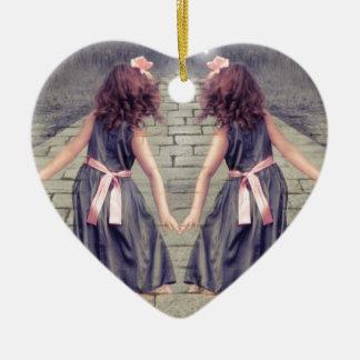 Ornement Cœur En Céramique de Gémeaux de meilleurs amis filles jumelles