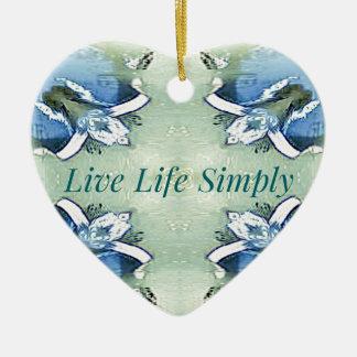 Ornement Cœur En Céramique 'De la vie mode de vie vivant bien aéré léger