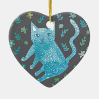 Ornement Cœur En Céramique Décoration de coeur de chat