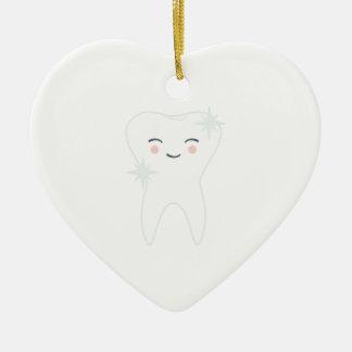Ornement Cœur En Céramique Dent heureuse