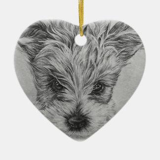 Ornement Cœur En Céramique Dessin mignon de chiot de l'art animal