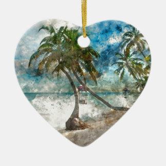 Ornement Cœur En Céramique Destination de voyage de Caye Belize d'ambre gris
