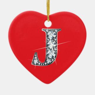 """Ornement Cœur En Céramique Diamant Bling de """"J"""" sur l'ornement rouge"""