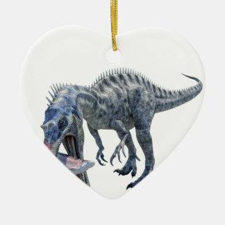Ornement Cœur En Céramique Dinosaure de Suchomimus mangeant un requin
