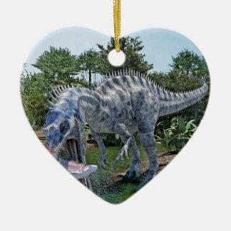 Ornement Cœur En Céramique Dinosaure de Suchomimus mangeant un requin dans un