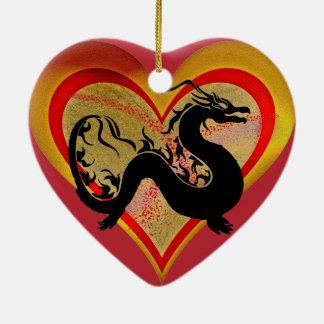Ornement Cœur En Céramique Dragon asiatique