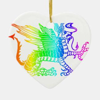 Ornement Cœur En Céramique Dragon d'arc-en-ciel