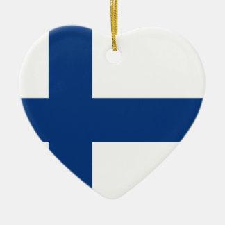 Ornement Cœur En Céramique Drapeau de la Finlande