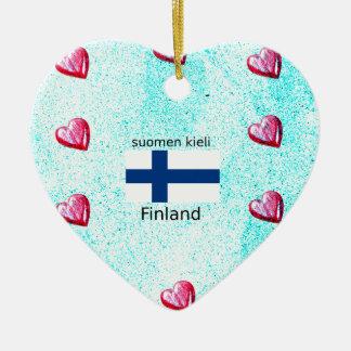 Ornement Cœur En Céramique Drapeau de la Finlande et conception finlandaise