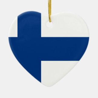 Ornement Cœur En Céramique Drapeau de la Finlande (lippu de Suomen, flagga de