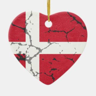 Ornement Cœur En Céramique Drapeau du Danemark