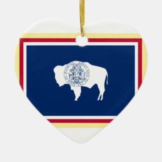 Ornement Cœur En Céramique Drapeau du Wyoming