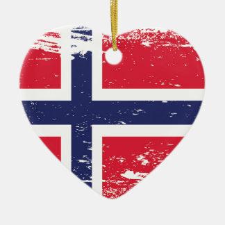 Ornement Cœur En Céramique Drapeau grunge de la Norvège