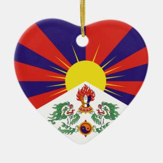 Ornement Cœur En Céramique Drapeau libre du Thibet - ་ de བཙན de ་ de རང de ་