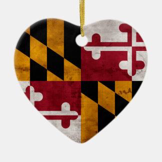 Ornement Cœur En Céramique Drapeau vintage patiné d'état du Maryland