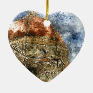 Ornement Cœur En Céramique Duomo Santa Maria Del Fiore et campanile