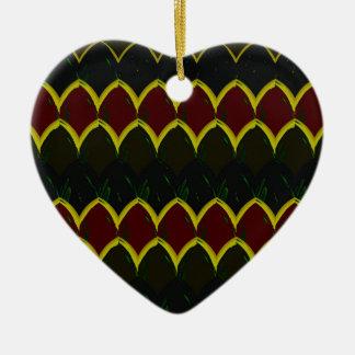 Ornement Cœur En Céramique Échelles rouges, noires et jaunes