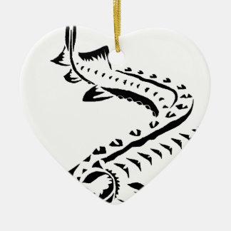 Ornement Cœur En Céramique Esturgeon tribal - beluga de Huso