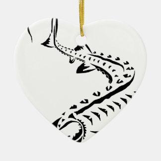 Ornement Cœur En Céramique Esturgeon tribal - Shovelnose