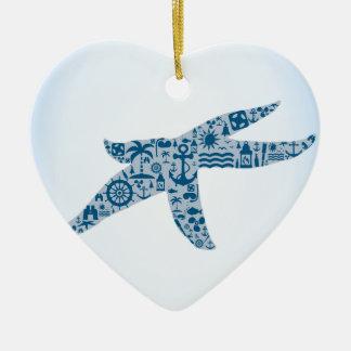Ornement Cœur En Céramique Étoiles de mer