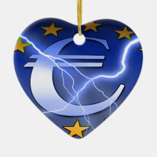 Ornement Cœur En Céramique Euro-Drapeau