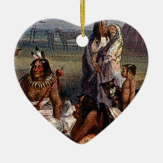 Ornement Cœur En Céramique famille tribale ouais