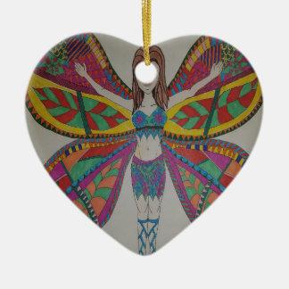 Ornement Cœur En Céramique Fée tribale de papillon