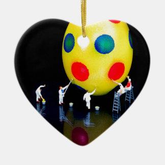 Ornement Cœur En Céramique Figurines miniatures peignant l'oeuf de pâques