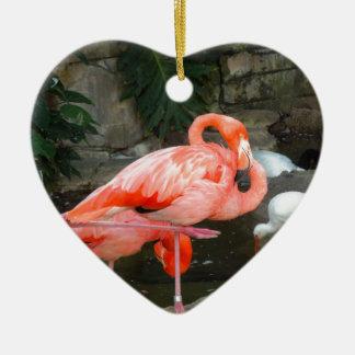 Ornement Cœur En Céramique Flamant rose