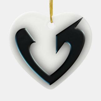 Ornement Cœur En Céramique Flèche noire de coeur