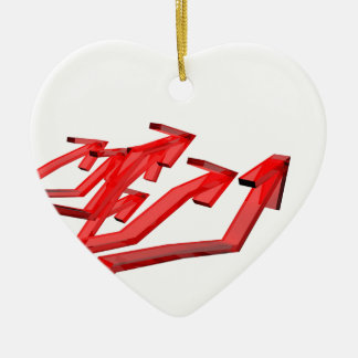 Ornement Cœur En Céramique Flèches rouges