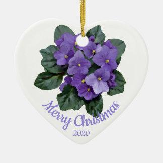 Ornement Cœur En Céramique Fleur datée de violette africaine de Noël de