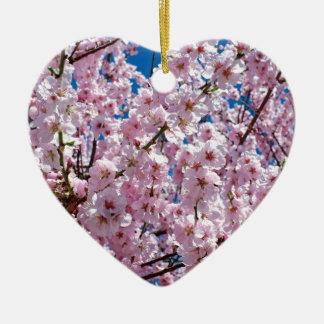 Ornement Cœur En Céramique Fleur japonaise de cerise